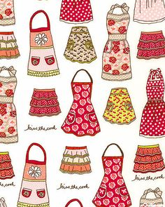 Kitchen Chic - Apron Fashions - White   Sandy  You need an apron made from this fabric!