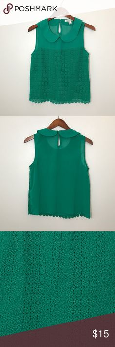 Crochet Peter Pan Collar Tank Flowy lightweight fabric. Like new condition. Gorgeous green color. Forever 21 Tops Tank Tops