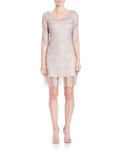 Jessica Simpson Metallic Fringe Shift Dress Women's Champagne 2
