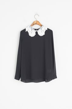 beautiful black satin blouse collar fully upturned | Flickr | Big ...