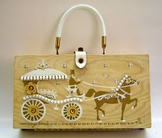 """A different version of """"Carriage Trade"""" - 1962 VINTAGE ENID COLLINS  *CARRIAGE TRADE* BOX BAG PURSE W/PEARLS"""