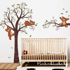 Wall Decals, Teddy Bears with Tree,  Nursery Kids Wall Decal on Etsy, $125.00