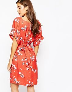 de4cc4a02f58 Closet Kimono Sleeve Midi Dress With Tie Back Detail And Split Front at  asos.com