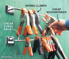 Spring Clamp Roost - Keep your spring clamps springy for a lifetime! Store them on a metal towel rod (about $3 at a home center) so the springs aren't tensed or stressed (or stepped on!). With the towel rod roost, you'll always know where to find these useful clamps in the heat of production.
