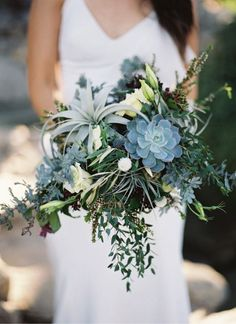 elegant green succulent wedding bouquets
