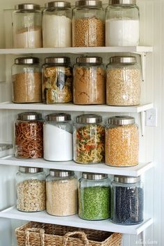 Whether you have open shelving in your kitchen or pantry, or just need a few essentials out on your countertops, glass jars are one of our favorite ways to organize in the kitchen