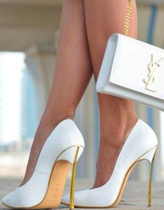White stiletto pumps