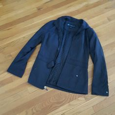 Kenneth Reaction Medium Raincoat Jacket Black Weatherproof jacket Black In fair condition No stains No holes Buttons snap off on both sides, so it doesn't snap together on cuffs Very good quality,  plenty of love left.  Lots of compartments, great for spring showers, morning walks. No hood, is missing. Kenneth Cole Reaction Jackets & Coats Blazers