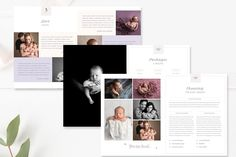 Want to gain more newborn clients?  Make a great first impression and delight customers with this modern  newborn photography magazine template. Use pages in this magazine format or  incorporate individually into your presentation folder.  This 22-page template gives your studio a branded look and feel, allowing  you to showcase your portfolio and services at an affordable price. This  full-size magazine Includes everything you need to inform your clients and  can also be edited to fit your…