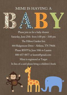 safari baby shower invitation, digital, printable file (item 1212). $13.00, via Etsy.