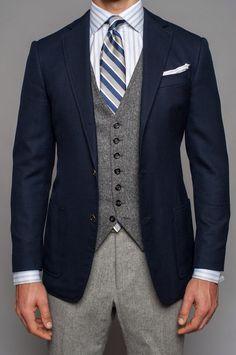 Navy blazer grey tweed vest light grey wool pants blue striped tie blue and white striped shirt casual Friday Navy Blazer Grey Pants, Grey Vest, Blue And White Striped Shirt, Navy Blue Suit, Navy Suits, Mens Fashion Suits, Mens Suits, Suit Combinations, Tweed Suits