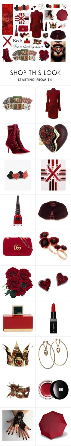 """""""Colours- Red"""" by darkpastel ❤ liked on Polyvore featuring Balmain, Yeezy by Kanye West, Alexis Bittar, Estée Lauder, Manic Panic NYC, Chesca, Gucci, Futuro Remoto, Fendi and Smashbox"""
