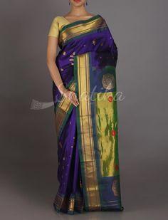 Sarika Royal Blue Hue Standout Pallu Real Zari #PaithaniSilkSaree