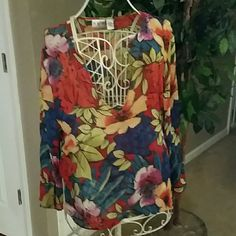 Sale....Chico top 3 like new Sheer long sleeve top like new  floral red blue green Chico's Tops