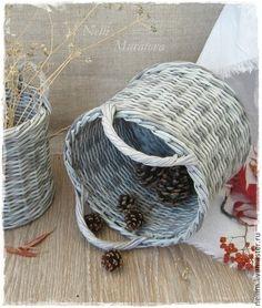 """Корзины, коробы ручной работы. Ярмарка Мастеров - ручная работа Корзины плетеные  """"Gray melange"""" (набор). Handmade."""