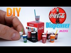 DIY Realistic Miniature Coca-Cola Dispenser | DollHouse | No Polymer Clay! - YouTube