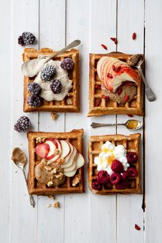 Summer waffles 4 ways - 4 simple and delicious waffle toppings for your waffle breakfast. All made with clean, healthy, and yummy ingredients