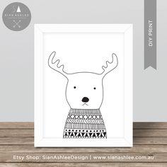 Scandinavian Print | Deer | Hand Drawn | Nursery Kids Room | Wall Art | Monochrome | Scandi | Black and White | DIY Print Sian Ashlee Design by SianAshleeDesign on Etsy https://www.etsy.com/au/listing/400294973/scandinavian-print-deer-hand-drawn