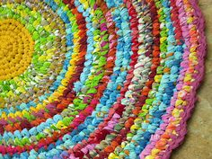 Rag rug in crochet from old colourful t-shirts. I love rag rugs but I really love this crochet one Crochet Home, Crochet Crafts, Fabric Crafts, Crochet Projects, Sewing Crafts, Knit Crochet, Diy Crafts, Knitted Rug, Crafty Projects