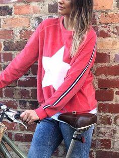 Hammill + Co Winter Star Velour Sweatshirt Tomato   The Rock Box Store