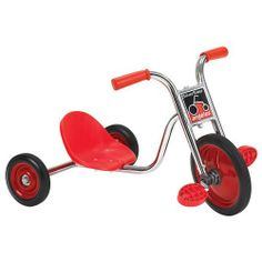 """Silver Rider(R) 10"""" Pedal Pusher LT (Set of Two) by Angeles. $259.95. one piece welded crank, 5 year guarantee. Set of 2 trikes, ships fully assembled. solid rubber tires, spokeless wheels, durable chrome plating. light weight, frame mounted seat with back support. no exposed hardware on pedals. 2 - 3 years. Seat: 4""""H. Handlebar: 17 1/2""""H. Weight 19 lbs each. Set of 2 trikes. The light weight of the trike and frame mounted seat with back support makes it easy for toddler..."""