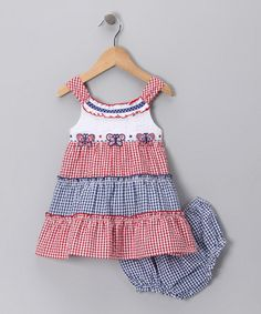 Red and Blue Seersucker Sundress and Diaper Cover - I can see Baby Girl in this for the 4th of July!!