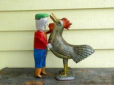 Il danse avec les coqs.( Félicien Levesque et Yvon Coté sculpteurs) Art Sculpture, Sculptures, Coqs, Rooster, Animals, Dance, Animales, Animaux, Sculpting