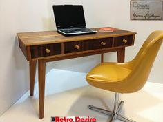 We love the sleek modern design of this rare 1950s #vintage walnut and beechwood desk. Timeless design, yes? It's also for sale on #Preloved.