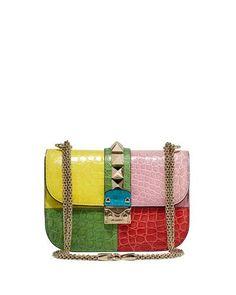Colorblock Rockstud Crocodile Shoulder Bag