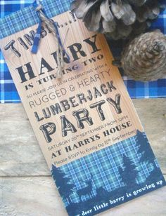 Love this Invitation from a Lumberjack themed 2nd birthday party via Kara's Party Ideas KarasPartyIdeas.com Cake, favors, desserts, printables, and more! #lumberjack #lumberjackparty #invitation