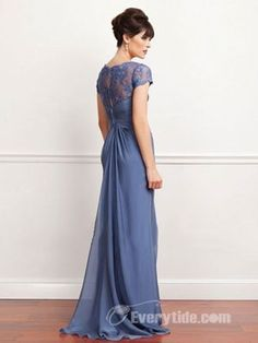 【Everytide Wedding Party Dress】 Gorgeous A-line Scoop Floor-length Chiffon Blue Evening Dress$148.99