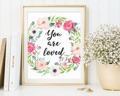 You Are Loved Wall Art You Are Loved by TheSunshineGarden on Etsy