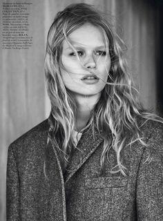 Anna Ewers looks boyfriend chic in Vogue Paris (Oct 13). Ph Josh Olins