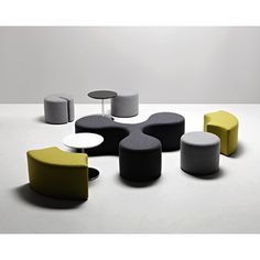 """A """"molecular"""" and polyvalent composition. It allows to create numerous combinations and to place sitting elements as one pleases."""