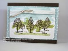 Amanda uses the Work of Art set to paint a background behind this Lovely as a Tree image. All supplies from Stampin' Up!
