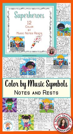 COLOR by MUSIC Notes and Rests Superhero Theme . ♫ CLICK to preview the set or save for later! ♫