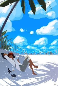 Pascal Campion, Life's a beach sometimes. Pascal Campion, Tableau Pop Art, Beach Illustration, Surf Art, Art For Art Sake, Illustrations, American Artists, Love Art, Cool Pictures