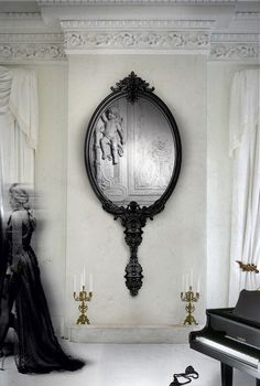 Marie Antoinette Mirror by Marco Costa . Boca do Lobo Design Studio Marie Antoinette mirror, the newest Boca do Lobo Limited Edition capable to reflect body and soul of any interior environment. Gothic Furniture, Luxury Furniture, Furniture Design, Bedroom Furniture, Black Furniture, Industrial Furniture, Hallway Furniture, Bedroom Art, Art Furniture
