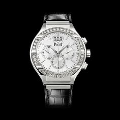 Piaget Polo Watch G0A32040, Chronograph, flyback, self-winding, white gold, diamonds