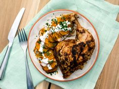 Sunny's Double-Decker Blackened Honey Chicken and Accordion Sweet Potatoes recipe from Sunny Anderson via Food Network