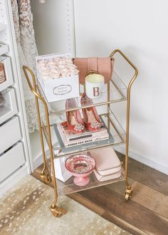 room decor My Top 10 Purchases of 2018 Gold and Acrylic Rolling Cart, World Market Rolling Cart Room Ideas Bedroom, Diy Bedroom Decor, Home Decor, Parisian Bedroom Decor, Bedroom Bar, Bedroom Designs, Beauty Room Decor, Bar Cart Decor, Bar Cart Styling