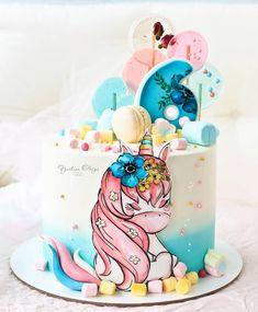 Baby Girl Cakes, Cake Baby, Cakes For Boys, Beautiful Cakes, Fondant, Cake Decorating, Unicorn Cakes, Birthday Cake, Decorated Cakes