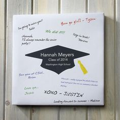 This canvas is perfect for graduation parties -- once your grad's friends sign it up, it will be a cherished memory for them forever! Washington High School, Personalised Gift Shop, Current Catalog, Holiday Gifts, Holiday Decor, Canvas Signs, Grad Parties, Sympathy Cards, Address Labels
