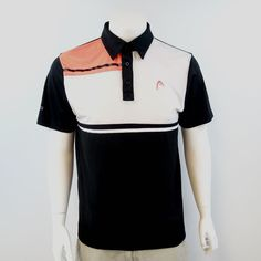 Head Men's Medium Tennis Polo Shirt Black White Coral M523 #HEAD #ShirtsTops