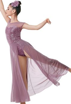 """Lavender Sequined Leotard with Stretch Mesh Neckline and Full-Length Skirt and Flower for Hair - """"Into the Meadow"""""""