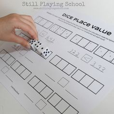 Place value math game for kids using dice