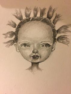 Whimsical girl character sketch.
