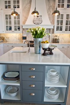 Love the island - the color and open storage