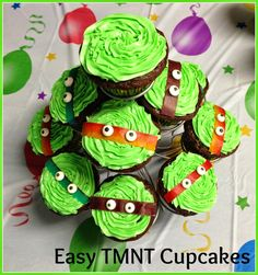 BentoLunch.net - How to Make Easy Teenage Mutant Ninja Turtle Cupcakes