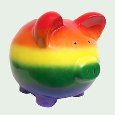 Color Somewhere Over the Rainbow! Piggy Bank ( gay, or convert to actual 🌈 and ☁️ scene) Pebble Painting, Dot Painting, Pig Bank, Penny Bank, Personalized Piggy Bank, Mini Pigs, Cute Piggies, Save Your Money, Over The Rainbow
